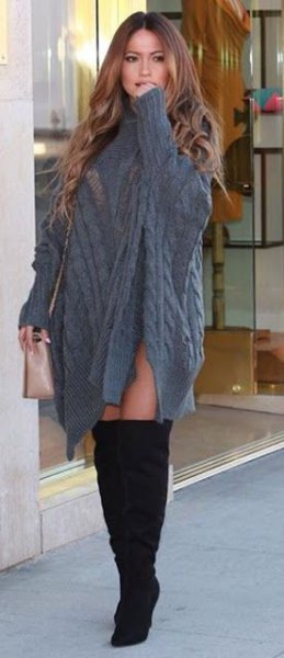 grey cable knit poncho sweater dress with sleeves