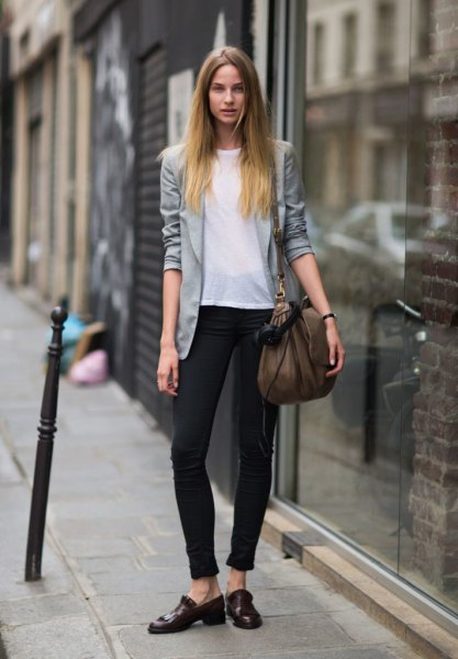 grey casual blazer with white chiffon top and ankle jeans