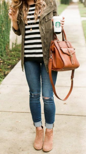 grey denim jacket with striped tee and camel ankle suede boots
