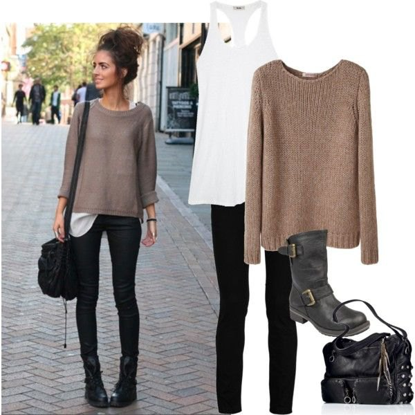 grey fitted knit sweater with black skinny jeans and ankle biker boots
