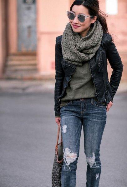 grey knit scarf with black leather moto jacket