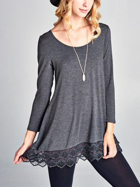 grey long sleeve boat neck lace hem tunic tee with black leggings