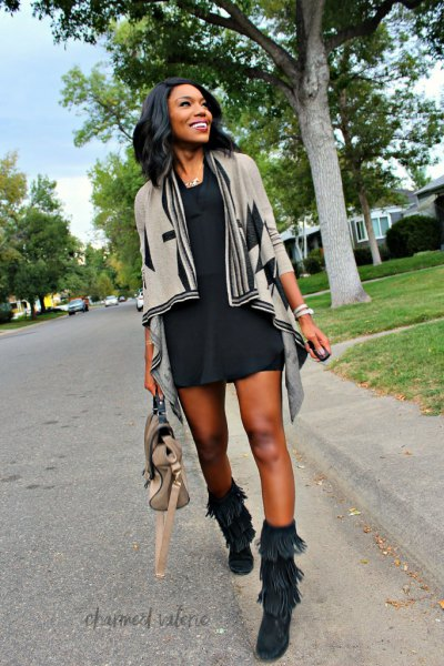 grey sweater cardigan with black mini shift dress and mid calf fringe fall boots