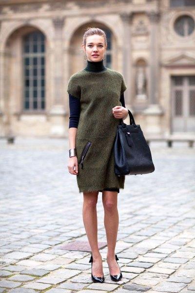 grey tunic dress over black turtleneck sweater