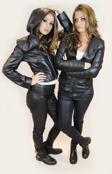 hooded leather jacket with matching biker pants
