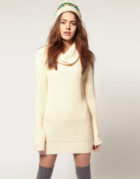 knit sweater mini dress with grey suede thigh high boots