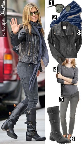 leather jacket with grey chiffon scarf and black knee high motorcycle boots jennifer aniston