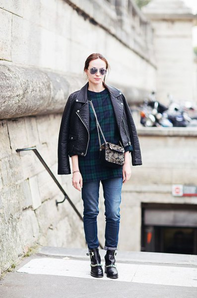 leather motorcycle jacket with navy and green plaid tunic top