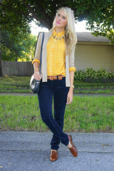 lemon yellow and white plaid shirt with blush pink blazer