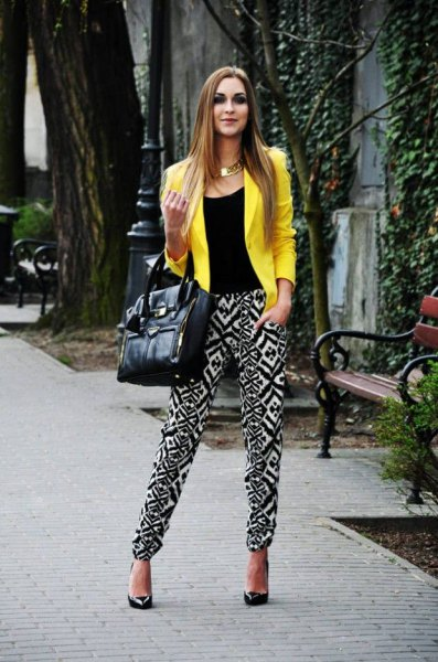 lemon yellow summer blazer with black vest top and tribal printed pants