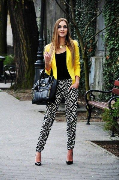lemon yellow summer blazer with black vest top and tribal printed pants