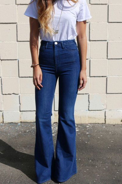 light blue t shirt with high rise bell bottom jeans