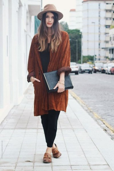 light brown felt hat with suede relaxed fit long coat