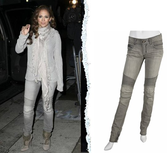light grey knit sweater with silk scarf and biker slim fit jeans