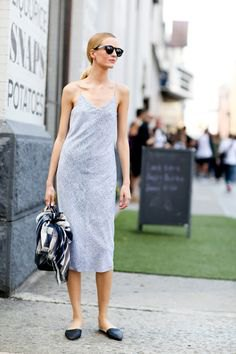 light grey midi slip dress with pointed toe backless loafers