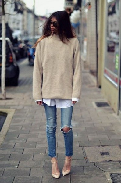 light grey mock neck chunky sweater with white button up boyfriend shirt