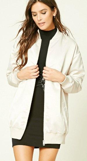 longline white bomber jacket with black mock neck mini shift dress