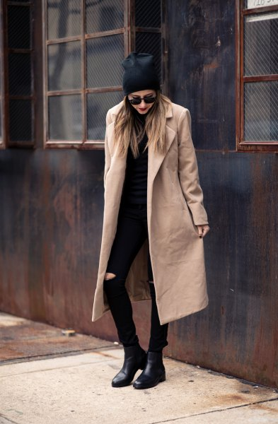 longline wool coat with all black outfit