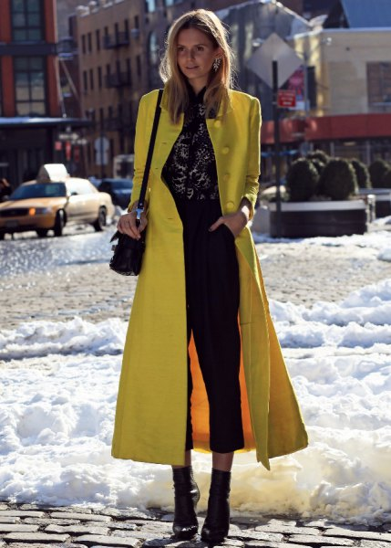 maxi slim fit lemon wool coat with black cropped jeans and boots