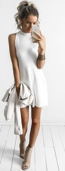 mock neck sleeveless flared sweater dress with open toe ankle boots