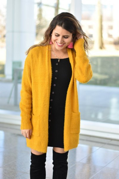 mustard long cardigan with black mini shift dress