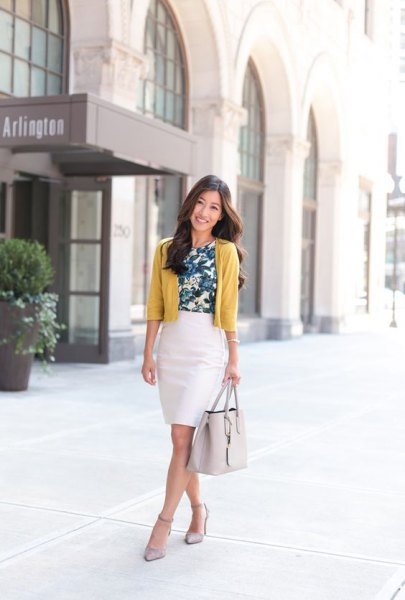 mustard yellow short cardigan with white pencil skirt
