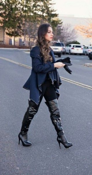 navy blue sweater jacket with black leather over the knee high heel boots