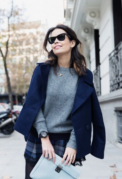 navy blue wool blazer with cashmere sweater and plaid mini skirt