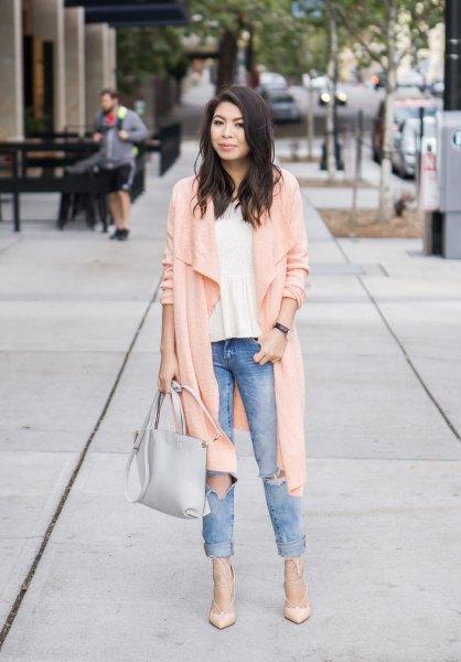 pale pink longline waterfall cardigan with cuffed boyfriend jeans