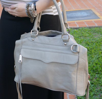 pale pink soft leather handbag with grey and white striped tee