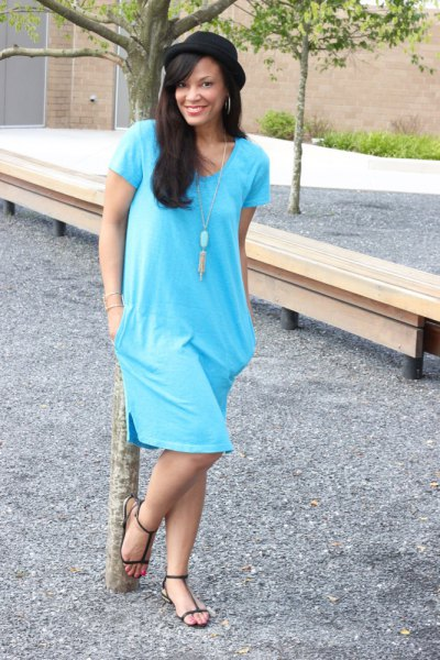 sky blue tunic dress with boho style necklace