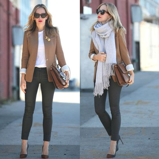 tan blazer with grey fringe scarf and ankle skinny jeans