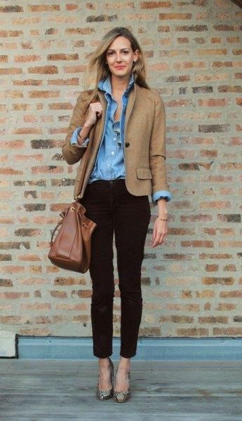 tan three quarter sleeve blazer with light blue chambray shirt