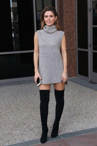 wear grey tunic sweater as super mini dress