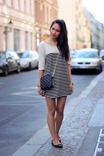 white and black horizontal striped half sleeve mini shift dress with ballet flats
