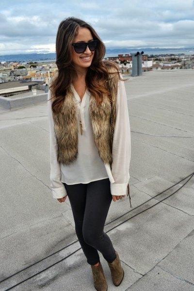 white chiffon blouse with brown mini faux fur vest