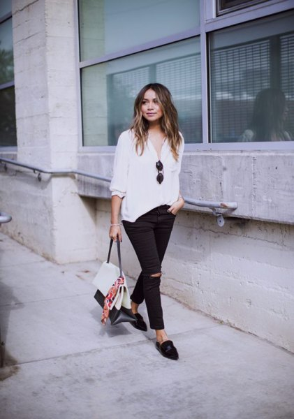 white chiffon relaxed fit blouse with ripped jeans and leather backless loafers