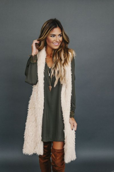 white longline faux fur vest with chiffon long sleeve mini shift dress