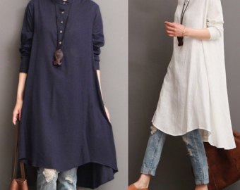 white midi length linen tunic blouse with blue washed jeans