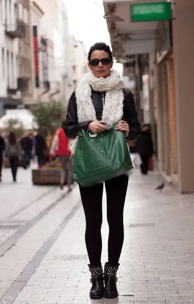 white scarf with black leather jacket and studded leather moto boots