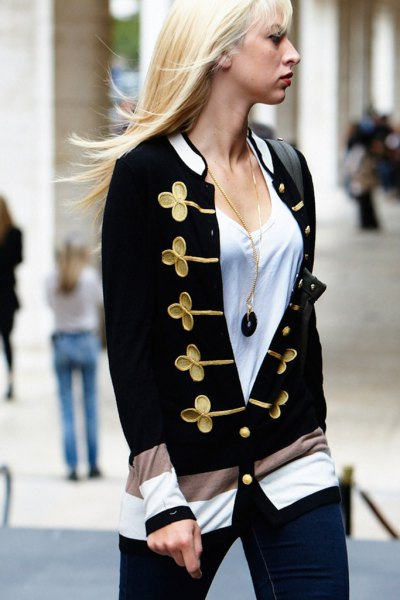white scoop neck tee with black and gold cute cardigan