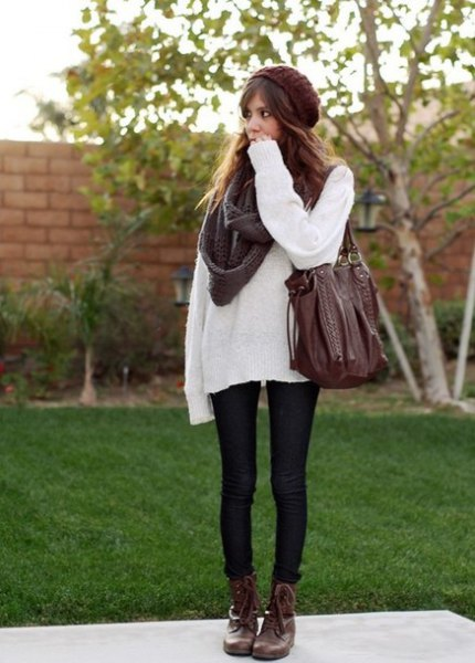 white sweater with grey scarf and black skinny jeans
