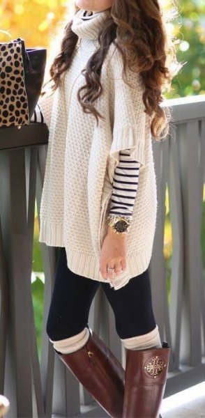 white turtleneck chunky poncho sweater with sleeves overs striped long sleeve tee
