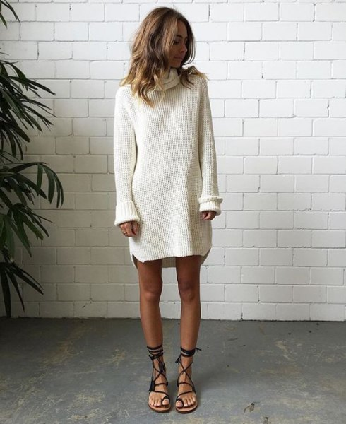 white turtleneck sweater dress with gladiator sandals