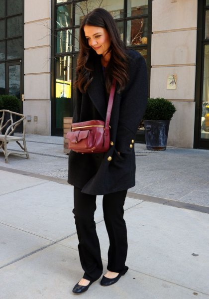 wool coat with straight leg jeans and black ballet flats