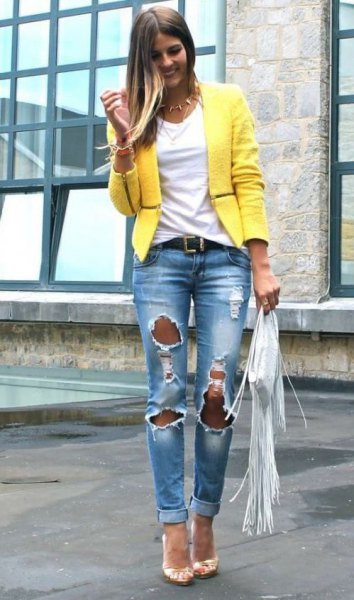 yellow casual summer blazer with heavily ripped boyfriend jeans
