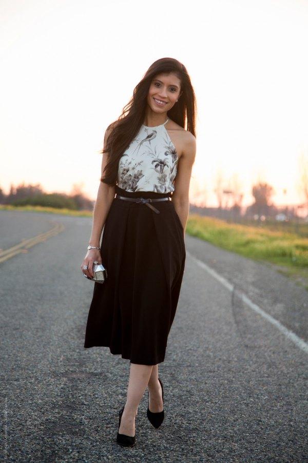 best black high waisted skirt outfit ideas for women