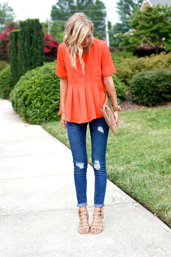 best orange blouse outfit ideas for women