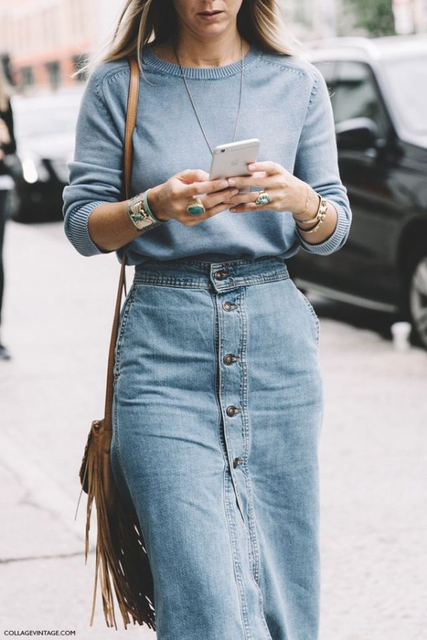 best long denim skirt outfit ideas for ladies