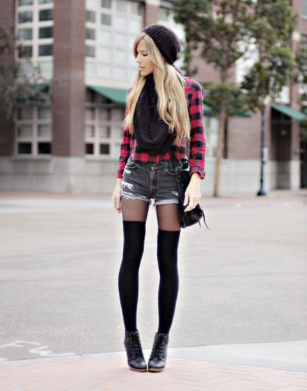 black and red plaid button up shirt with mini denim shorts and thigh high tights